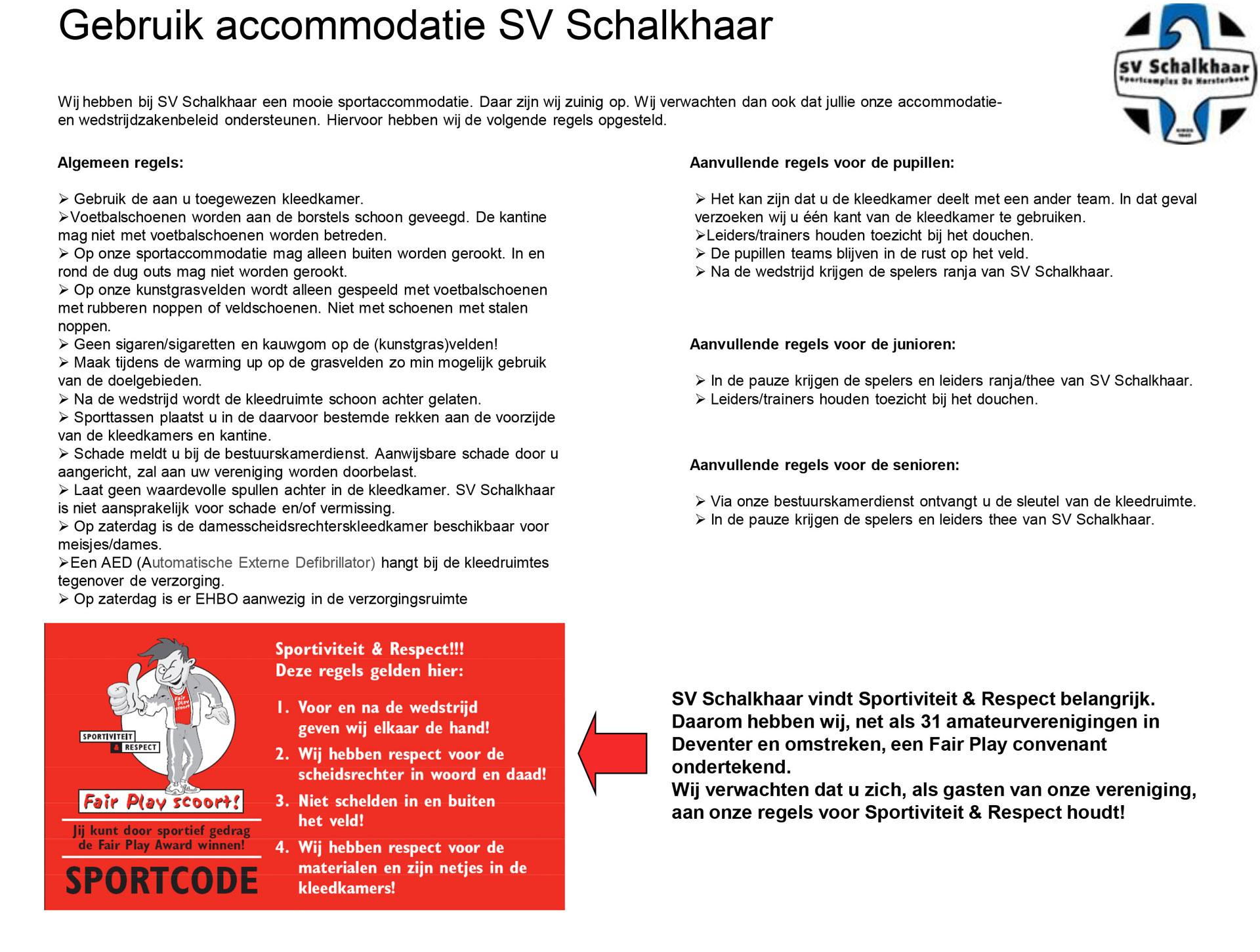 Gebruik Accommodatie SV Schalkhaar