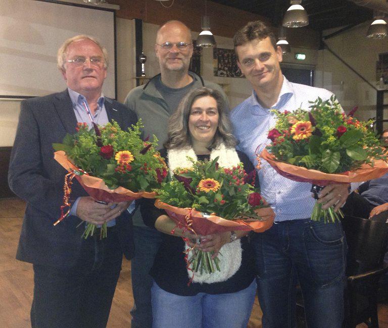 Aftredend bestuur: Ben de Fooij (voorzitter ai), Rob Beltman, Gert Meijerink (penningmeester), Diana Grootjans (secretaris)